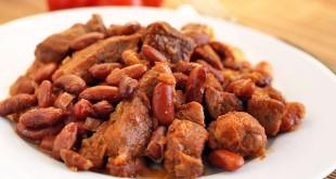Бобы с мясом в конопляном соусе